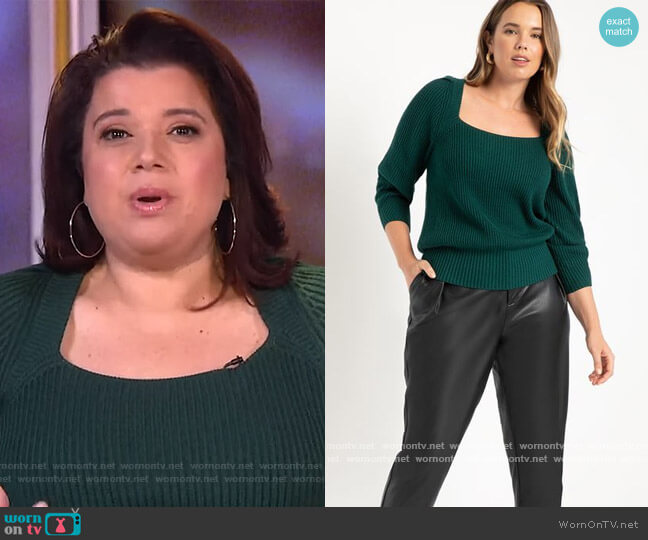 Square Neck Sweater With Puff Sleeve by Eloquii worn by Ana Navarro  on The View