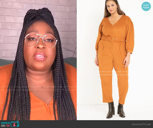 Suede Jumpsuit by Eloquii worn by Loni Love  on The Real
