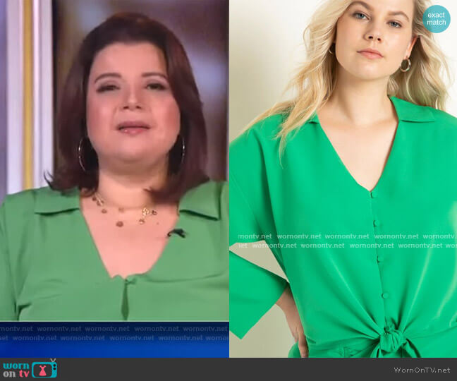 Tie Front Blouse with Collar by Eloquii worn by Ana Navarro  on The View