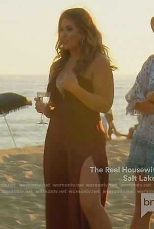 Emily's burgundy maxi dress with slits on The Real Housewives of Orange County