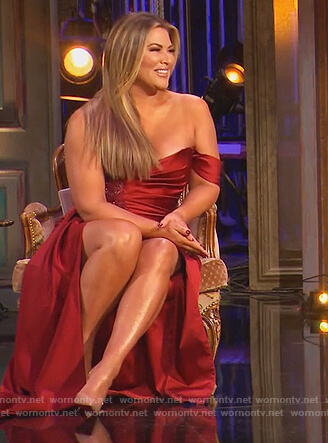 Emily's red satin off shoulder reunion dress on The Real Housewives of Orange County