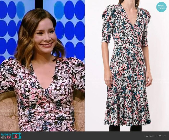 Puff-Sleeve Floral Midi Dress by Erdem worn by Rebecca Jarvis on Live with Kelly and Ryan