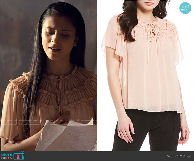 Evolutionary Tie Neck Pleated Yoke Blouse worn by June Park (Daniela Norman) on Tiny Pretty Things