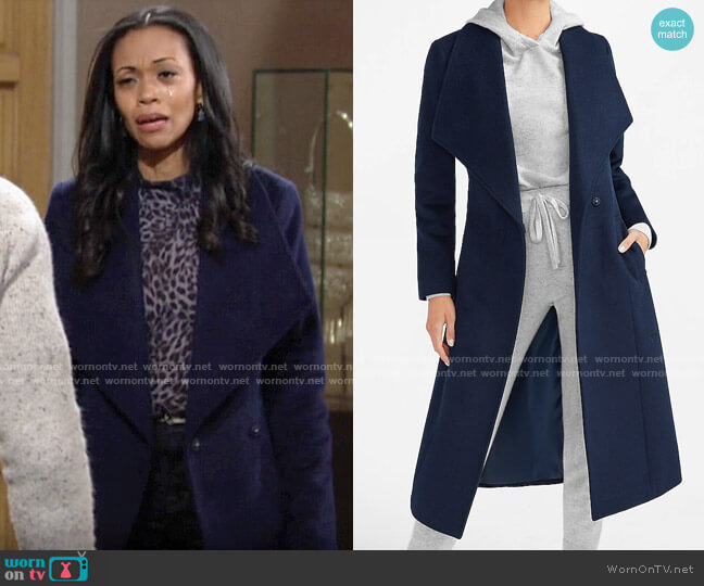 Express Wool-Blend Belted Shawl Collar Wrap Coat in Dark Blue  worn by Amanda Sinclair (Mishael Morgan) on The Young & the Restless