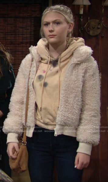 Faith's fleece bomber jacket on The Young and the Restless