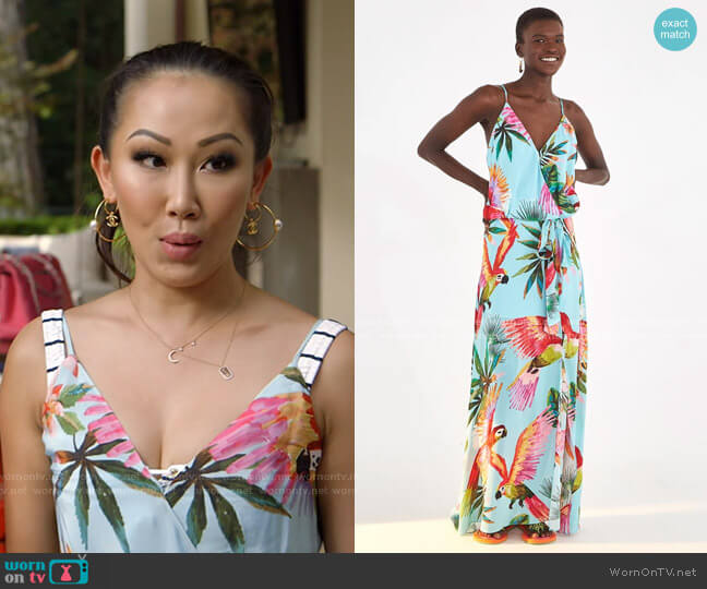 Macaw Wrap Dress by Farm Rio worn by Tiffany Moon  on The Real Housewives of Dallas