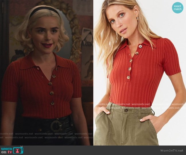Ribbed Polo Top by Forever 21 worn by Sabrina Spellman (Kiernan Shipka) on Chilling Adventures of Sabrina