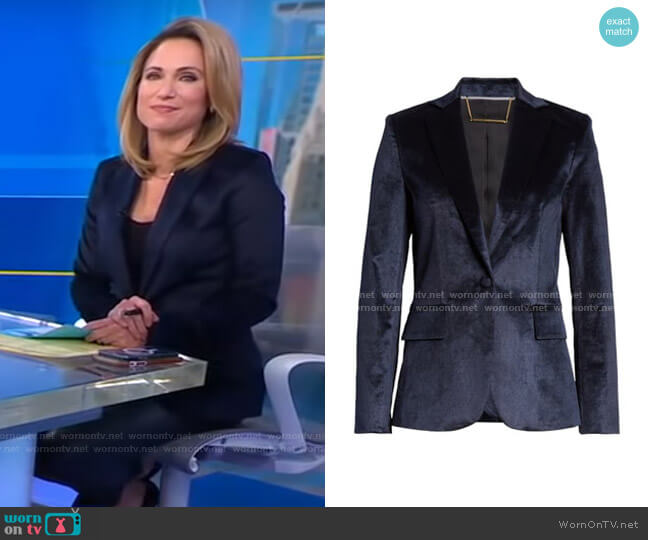 Classic Velvet Blazer by Frame worn by Amy Robach  on Good Morning America