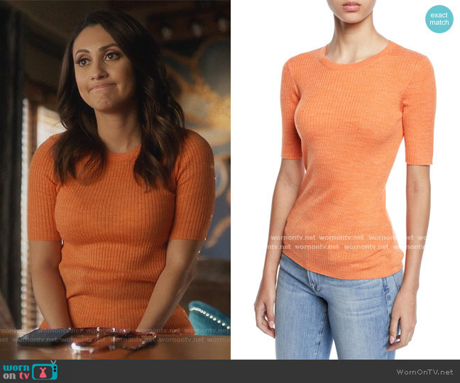 Short-Sleeve Ribbed Crewneck Sweater by Frame worn by Ana Torres (Francia Raisa) on Grown-ish