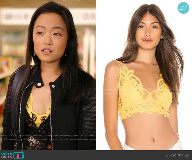 Adella Bralette in Lemon by Free People worn by Janet (Andrea Bang) on Kims Convenience