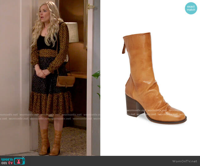 Free People Elle Boot in Taupe Leather worn by Gemma (Beth Behrs) on The Neighborhood