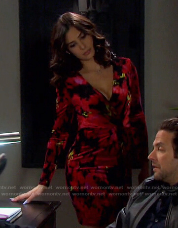 Gabi's red floral twisted dress on Days of our Lives