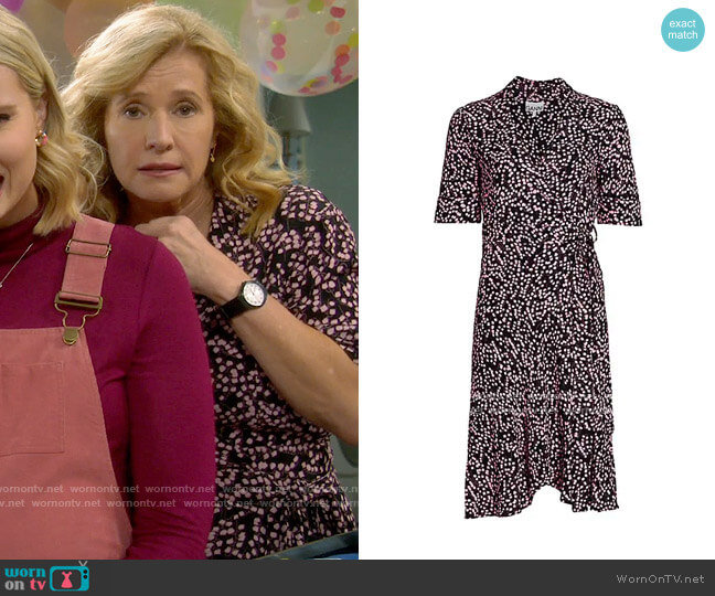 Ganni Floral Wrap Dress worn by Vanessa Baxter (Nancy Travis) on Last Man Standing