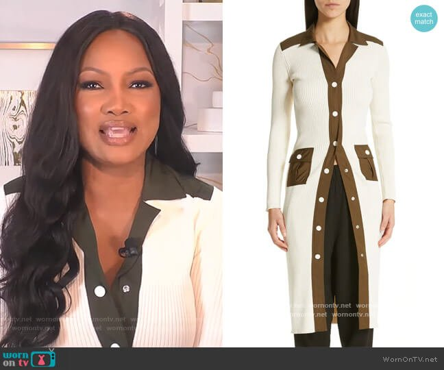 Tech Knit Cardigan Sweater Dress by Ganni worn by Garcelle Beauvais  on The Real