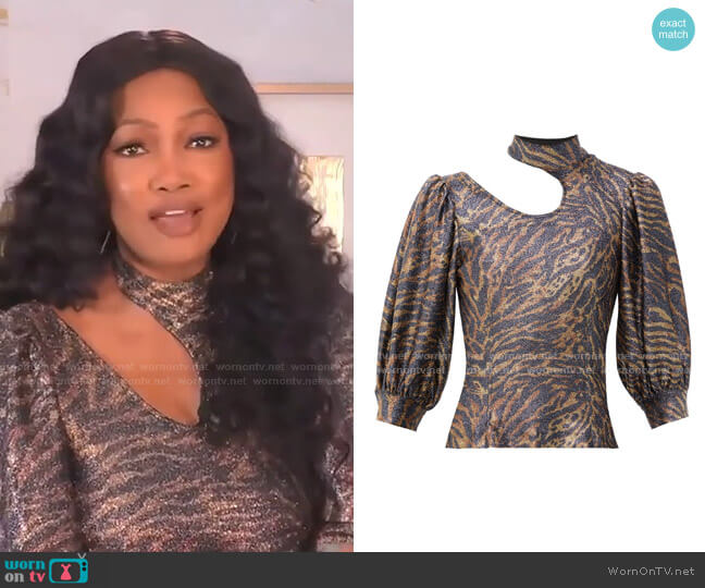 Tiger-Print Puff-Sleeve Lurex-Knit Top by Ganni worn by Garcelle Beauvais  on The Real
