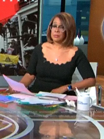 Gayle King's black scalloped trim dress on CBS This Morning