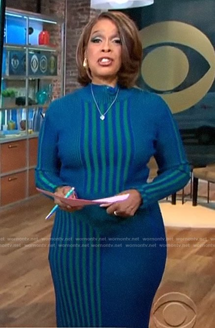 Gayle King's green and blue striped knit top and skirt set on CBS This Morning