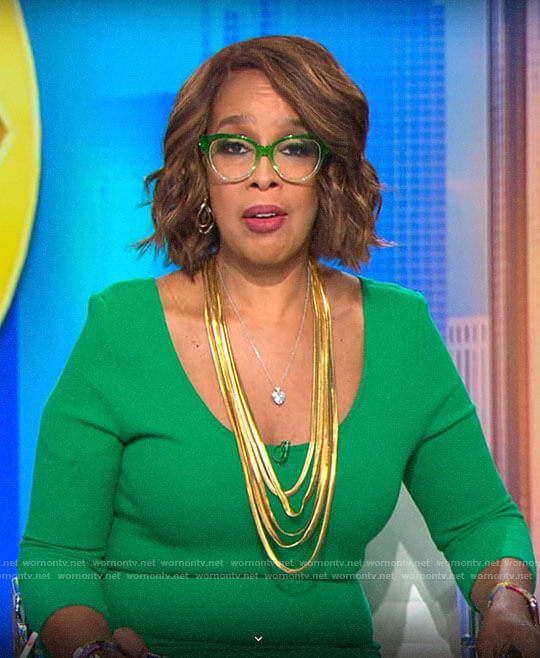 Gayle King's green scoopneck dress on CBS This Morning