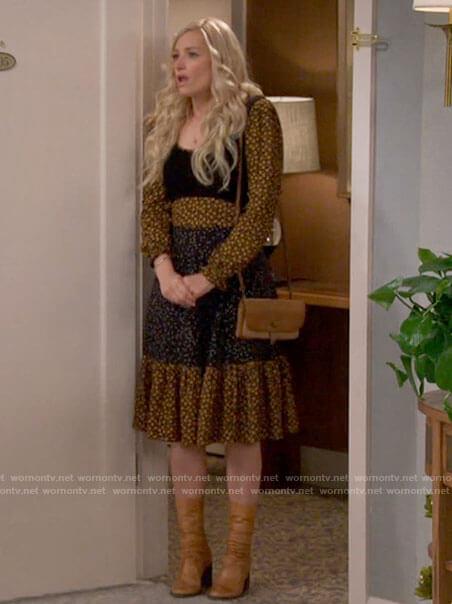Gemma's mixed print long sleeve dress on The Neighborhood
