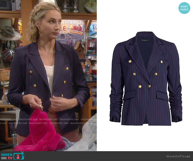 Generation Love Stella Pinstripe Blazer worn by Mandy Baxter (Molly McCook) on Last Man Standing