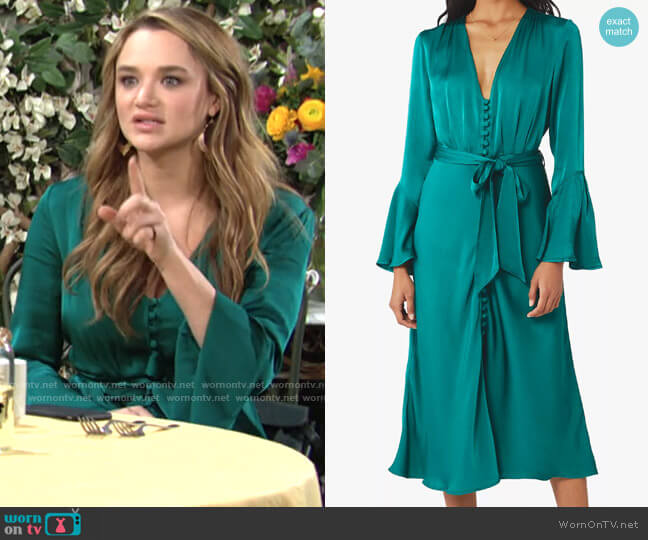 Ghost London Annabelle Dress worn by Summer Newman (Hunter King) on The Young & the Restless