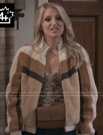 Gina's brown teddy jacket and tan belt bag on B Positive