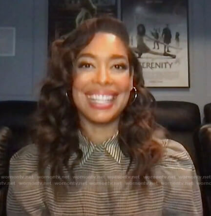 Gina Torres's plaid puff sleeve top on Today