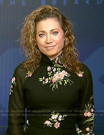 Ginger's black floral print mock neck dress on Good Morning America
