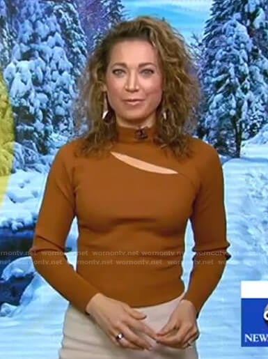 Ginger's brown cutout sweater on Good Morning America