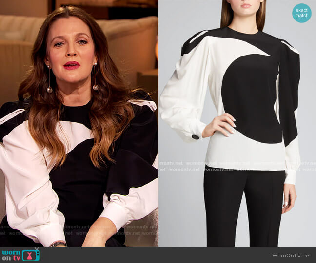 Bonded Graphic Silk Puff-Sleeve Blouse by Givenchy worn by Drew Barrymore  on The Drew Barrymore Show