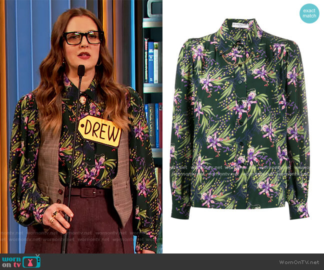 Floral Print Button-up Shirt by Givenchy worn by Drew Barrymore  on The Drew Barrymore Show