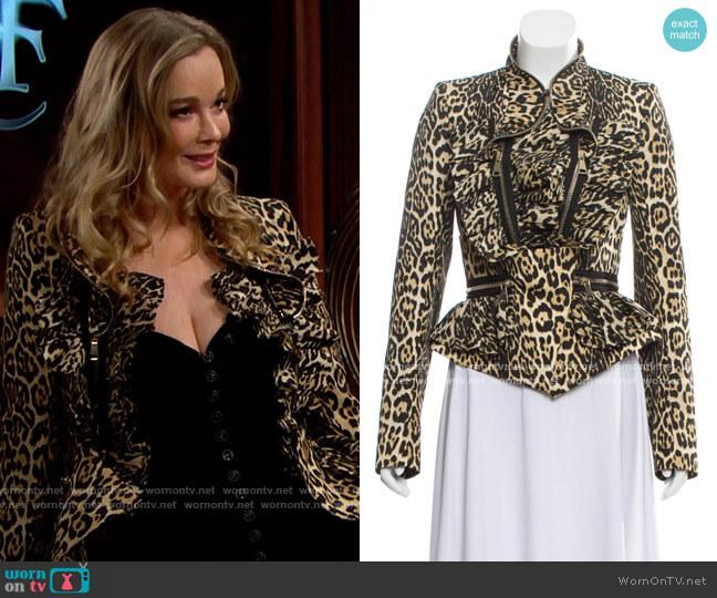 Givenchy Leopard Peplum Jacket worn by Donna Logan (Jennifer Gareis) on The Bold & the Beautiful