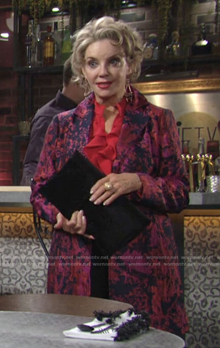 Gloria's floral jacquard jacket and red ruffled blouse on The Young and the Restless