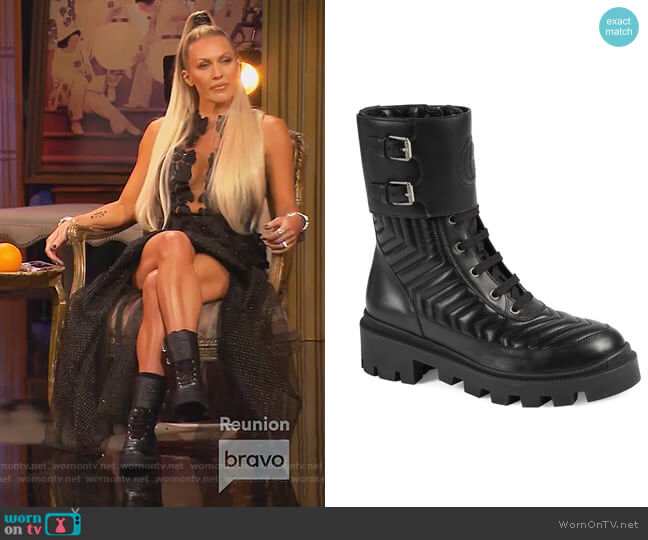 Frances GG Matelasse Platform Combat Boot by Gucci worn by Braunwyn Windham-Burke  on The Real Housewives of Orange County