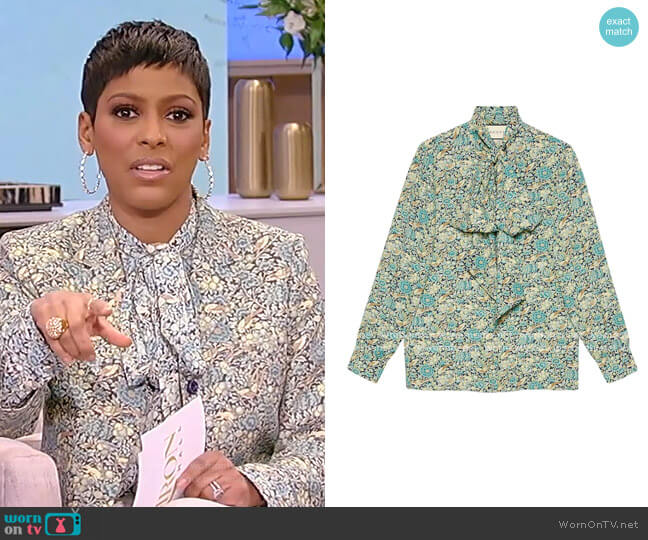 Liberty Floral Print Blouse by Gucci worn by Tamron Hall  on Tamron Hall Show
