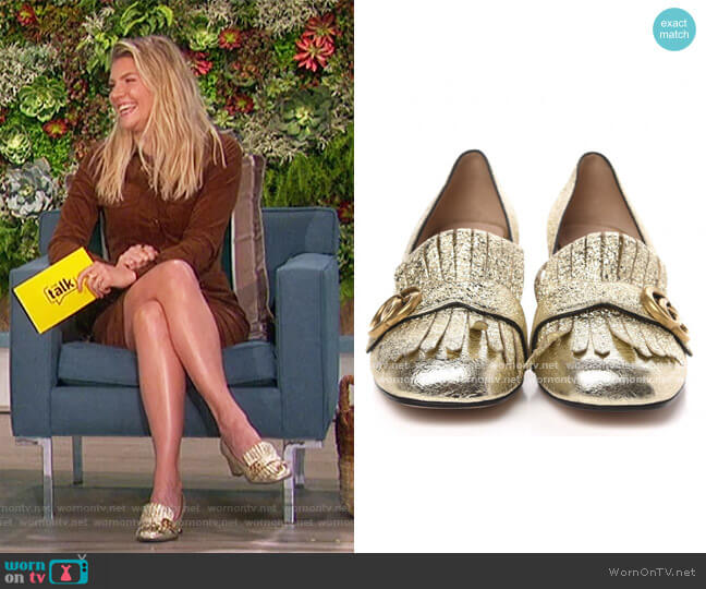 Metallic Laminate Calfskin GG Marmont Fringe Loafer Pumps 40 Platinum by Gucci worn by Amanda Kloots  on The Talk
