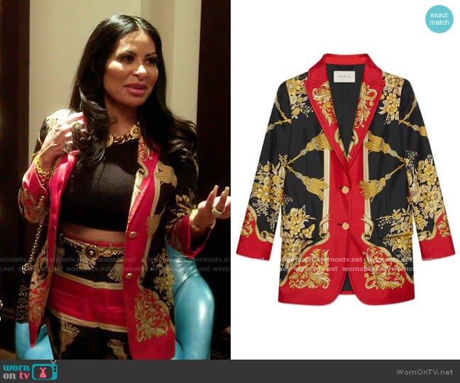 Silk Jacket with Flowers and Tassels by Gucci worn by Jen Shah  on The Real Housewives of Salt Lake City
