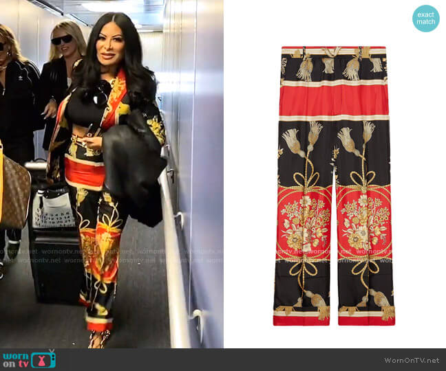 Silk Pant with Flowers and Tassels by Gucci worn by Jen Shah  on The Real Housewives of Salt Lake City