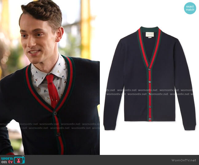 Wool cardigan with Web by Gucci