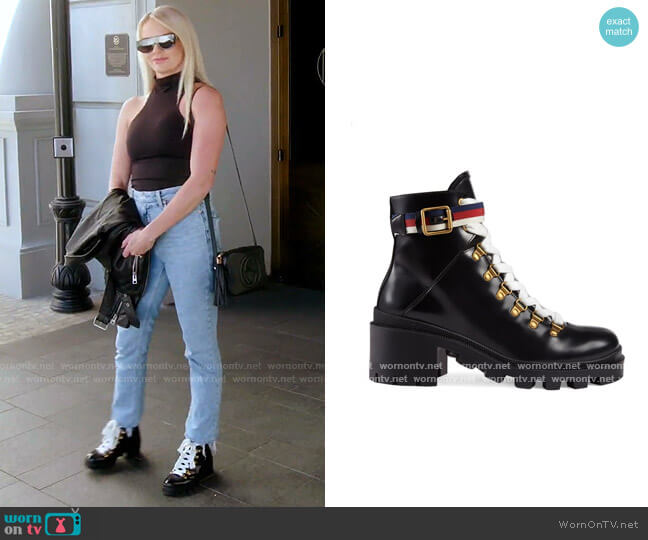 Trip Lug Sole Combat Boot by Gucci worn by Whitney Rose  on The Real Housewives of Salt Lake City