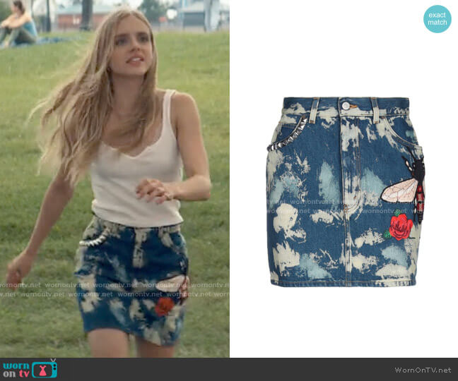 Gucci Embellished Denim Skirt worn by Bette Whitlaw (Casimere Jollette) on Tiny Pretty Things