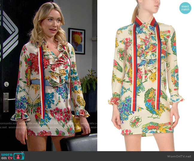 Gucci Floral Dress worn by Flo Fulton (Katrina Bowden) on The Bold & the Beautiful
