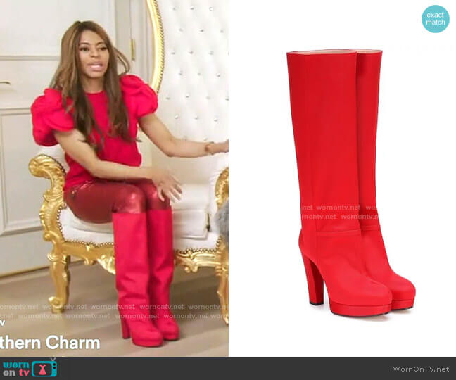 Ribbed Knee-High Boots by Gucci worn by Mary Cosby  on The Real Housewives of Salt Lake City