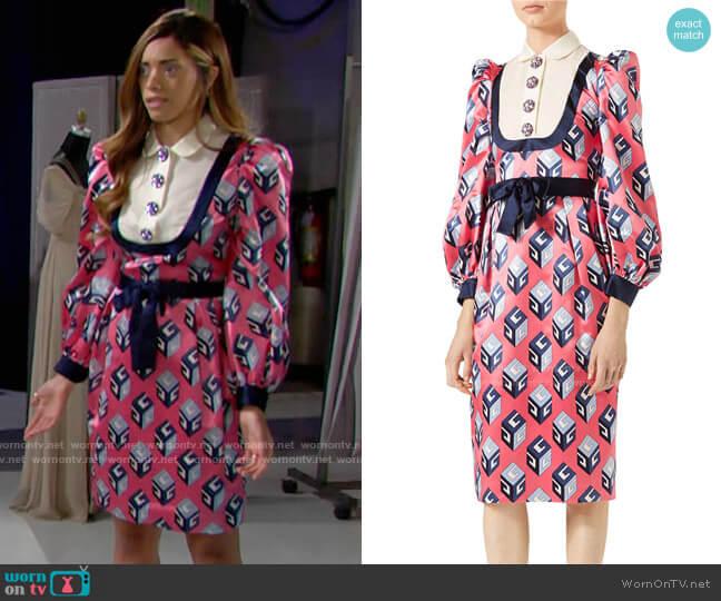 Gucci GG Wallpaper Printed Silk Dress worn by Zoe (Kiara Barnes) on The Bold & the Beautiful