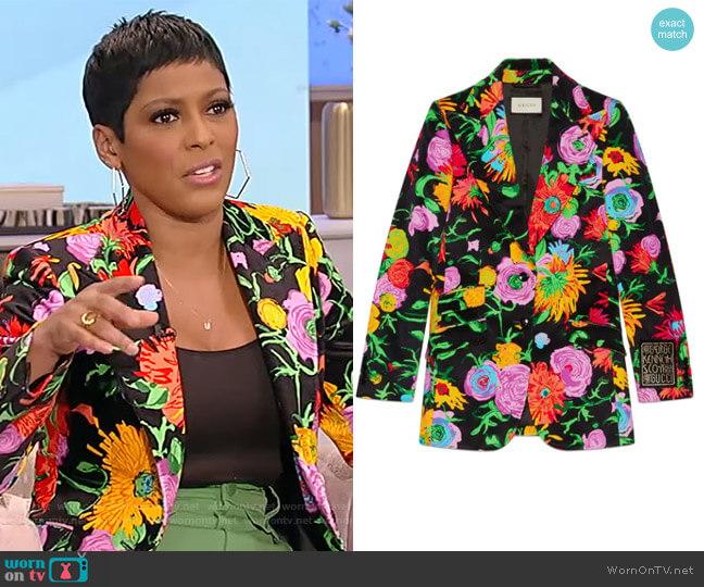 X Ken Scott Floral Velvet Blazer by Gucci worn by Tamron Hall  on Tamron Hall Show
