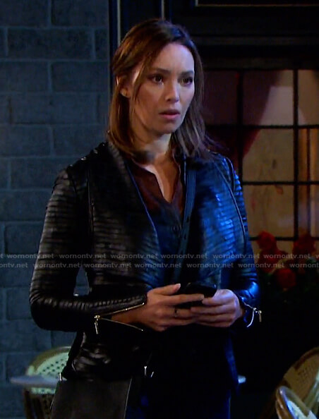 Gwen's black pleated leather jacket on Days of our Lives