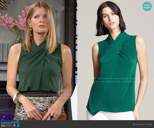 Halston Green Cross Neck Top worn by Phyllis Summers (Michelle Stafford) on The Young & the Restless