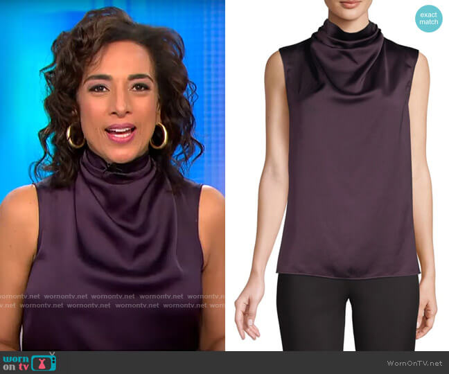Halston Sleeveless Cowl Neck Top worn by Michelle Miller  on CBS This Morning