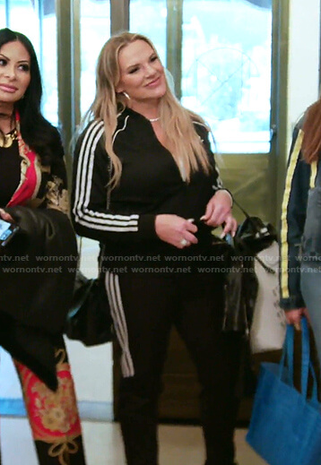 Heather's Adidas track jacket and pants on The Real Housewives of Salt Lake City
