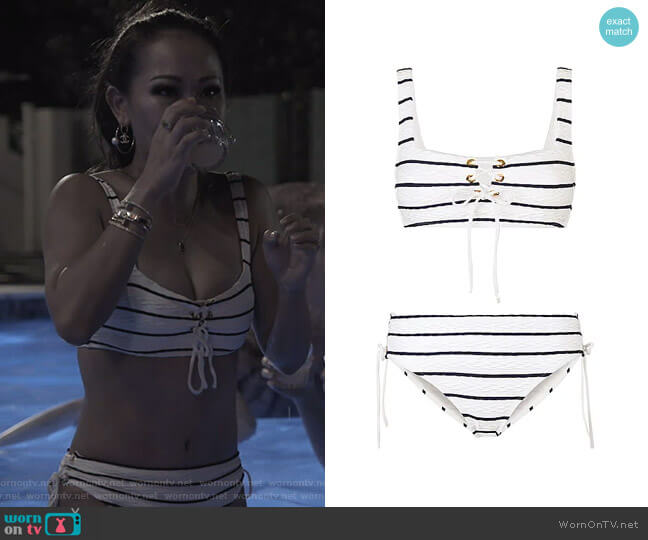 Dubrovnik Striped Bikini Top and Briefs by Heidi Klein worn by Tiffany Moon  on The Real Housewives of Dallas